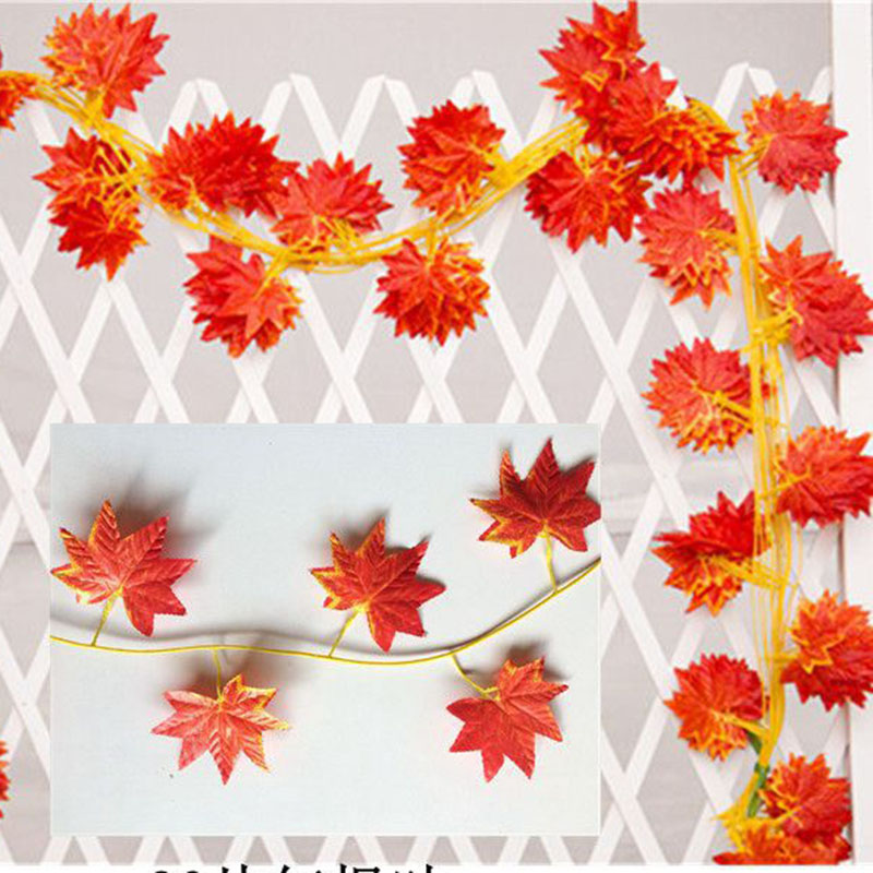 Image 4 - Hot Selling!! 2.3m Windowill Autumn Leaves Garland Maple Leaf Vine Fake Foliage home garden Decoration-in Party DIY Decorations from Home & Garden