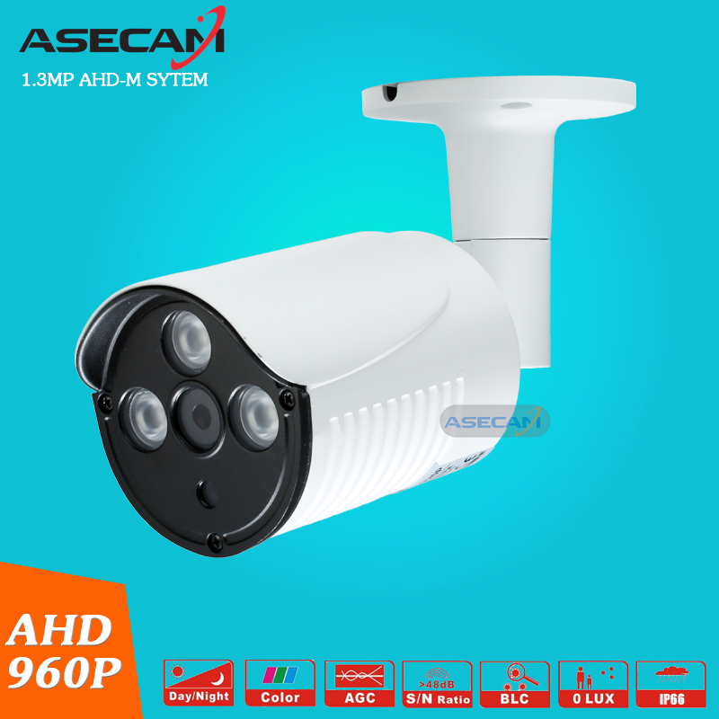 Asecam CCTV AHD HD 960P Waterproof Outdoor Metal Bullet Surveillance 3pcs Array infrared IR-CUT Security Camera Free shipping wistino cctv camera metal housing outdoor use waterproof bullet casing for ip camera hot sale white color cover case