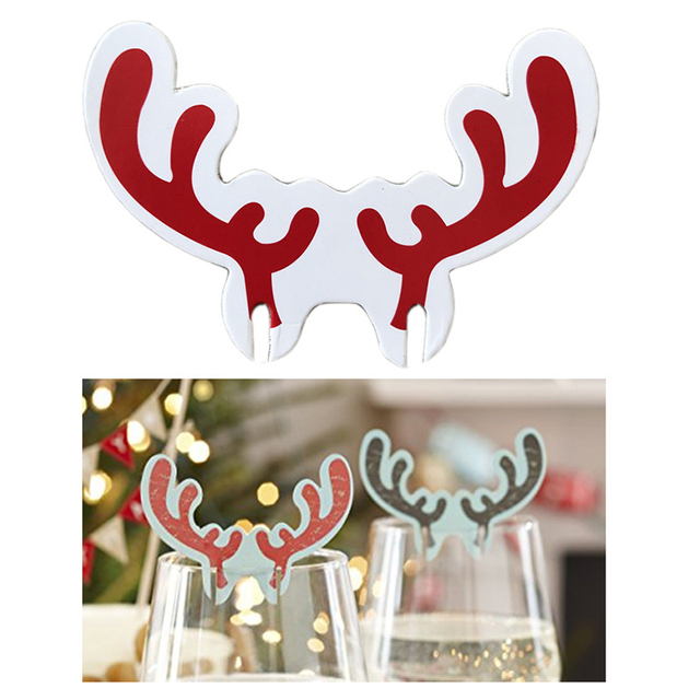 christmas deer wine glass paper cup cards name place new year party supplies christmas deer wedding