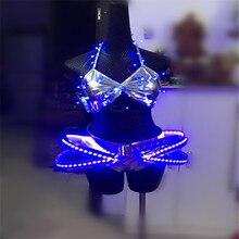 BC41 Бальные Танцевальные светодиодные костюмы сексуальные женские платья светящийся бюстгальтер для сцены шоу одежда для подиумов представление бар вечерние костюмы dj