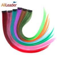 AliLeader produkt 1 sztuka 1 klip w syntetyczne doczepy do włosów Ombre 20 kolorów 50CM długości z nakładką do prostowania na kawałki włosów kobiety dziewczęta