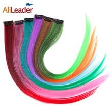 Alileader produto 1 peça 1 clipe em extensões de cabelo sintético ombre 20 cores 50cm longo grampo em linha reta peças de cabelo feminino meninas