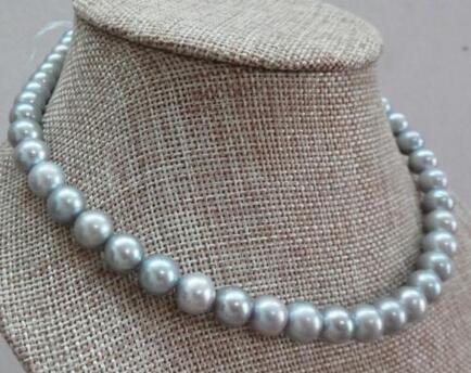 Livraison gratuite>>>> vente chaude véritable naturel 8-9mm collier de perles d'eau douce gris argent solide fermoir 14 k