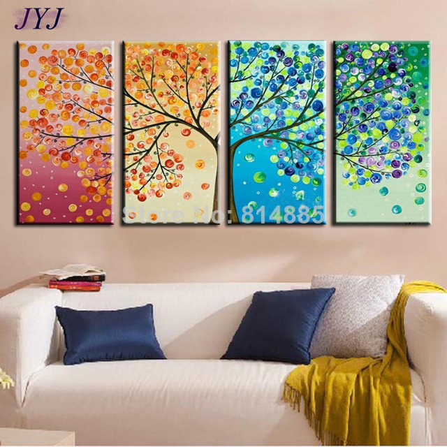the season tree top quality hand painted modern abstract art canvas oil painting wall art gift. Black Bedroom Furniture Sets. Home Design Ideas