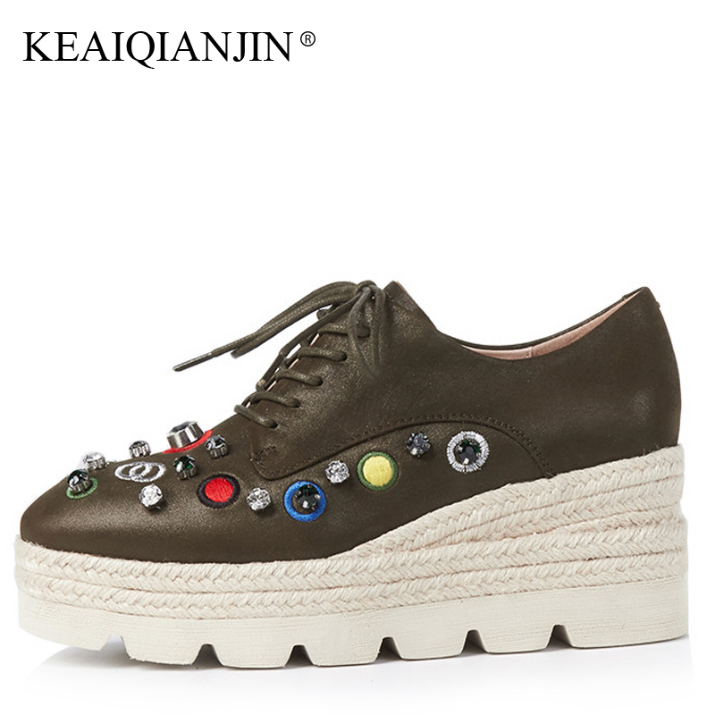 KEAIQIANJIN Woman Crystal Shoes Spring Autumn Casual Lace Up Green Platform Shoes Green Genuine Leather Embroider Flats 2018 keaiqianjin woman genuine leather brogue shoes spring autumn black white flats lace up genuine leather loafers lazy shoes 2017
