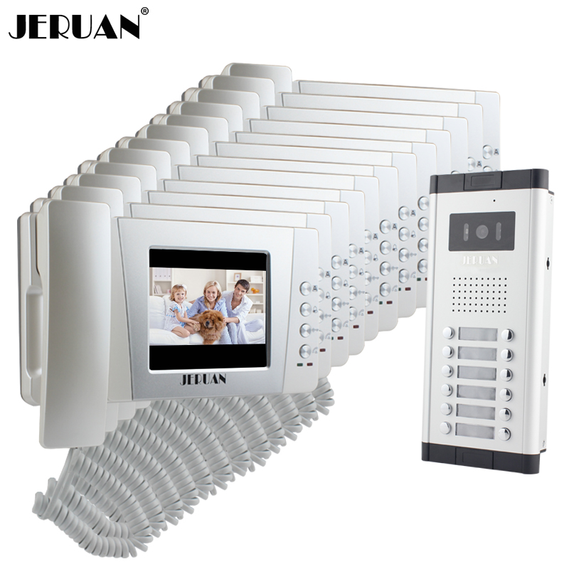 JERUAN Apartment 4.3 Inch LCD Video Door Phone Intercom System 12 Handheld Monitor 1 HD IR COMS Camera For 12 House In Stock