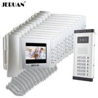 Jeruan شقة 4.3 بوصة lcd الفيديو باب الهاتف إنترفون نظام 12 محمول شاشة 1 hd ir coms كاميرا ل 12 منزل في الأسهم