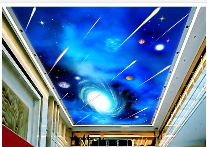 3d фото обои 3d потолка обои фрески Hd sky метеорный поток гостиная потолок фрески обои