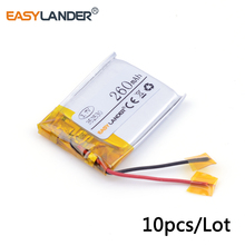 10pcs /Lot 3.7v lithium Li ion polymer rechargeable battery 352530 260mah MP3 MP4 Bluetooth small stereo