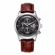 BINLUN Men's Black/Brown Leather Band White/Black Dial Sports Military Watch Casual Waterproof Quartz Watch Calendar