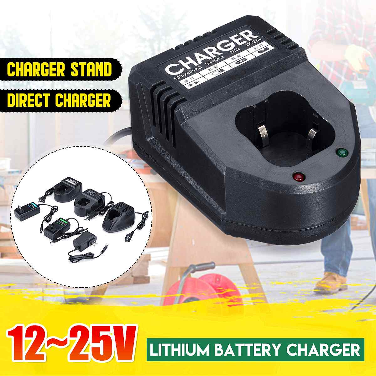 12~<font><b>25V</b></font> 2A Lithium Battery Power <font><b>Adapter</b></font> Fast Charger Charging Stand For Electric Drill Electric Wrench Power Tools Accessories image