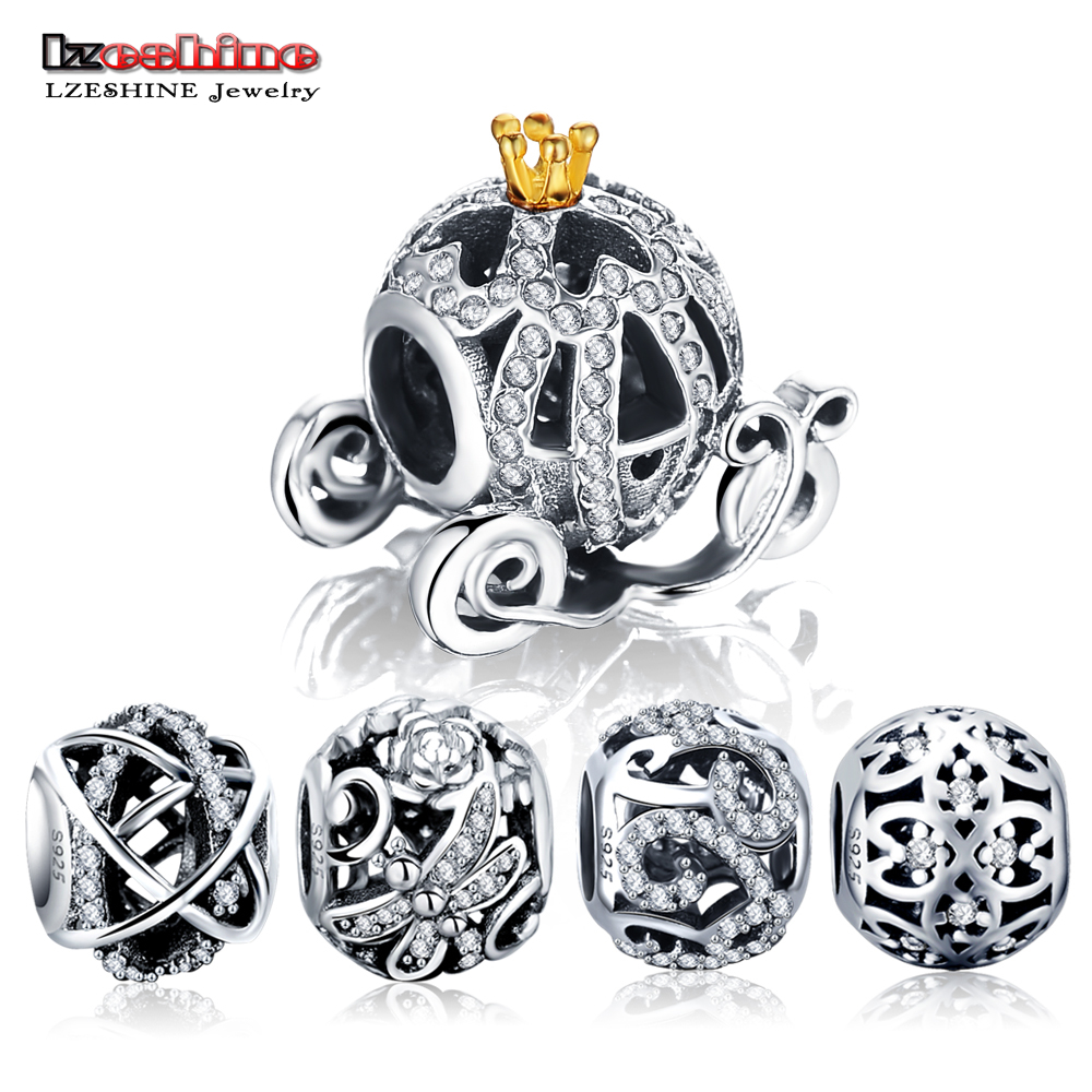LZESHINE 100% 925 Sterling Silver Hollow Beads Charm Fit