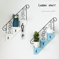 MoeTron Decorative Wall Shelf Organizer Multi function Key Holder Wall Wood Shelf