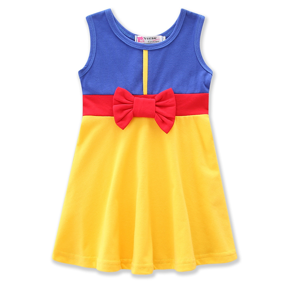 Girls Dresses Halloween Party Costume Cotton Sleeveless Bow-tie Dress Children Cosplay Clothes Snow White Girl Princess clothes hot sale summer children girl snow white princess dress bow kids dresses for girls birthday party cosplay costume