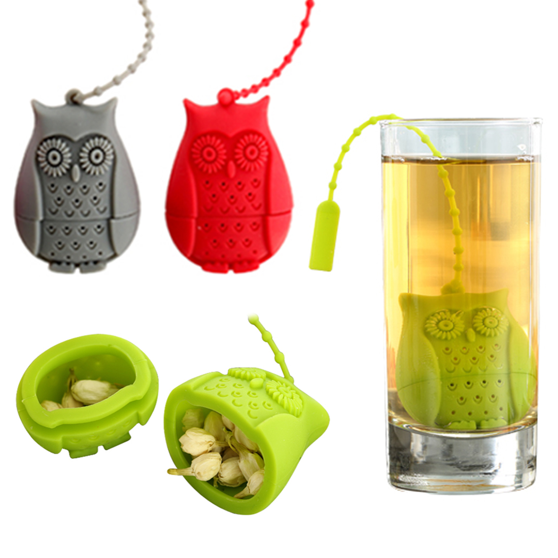 Owl Tea Bags Strainers Silicone Teaspoon Filter Infuser Silica Gel Filtration Silicone loose-leaf Tea Infuser Filt