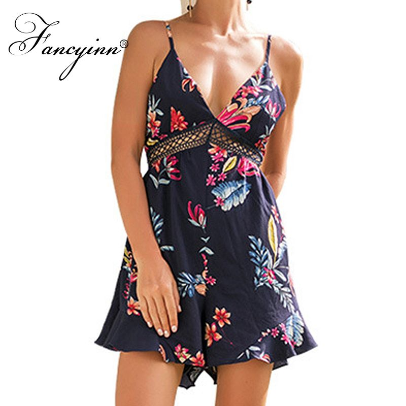 FANCYINN 2018 Summer Sexy Women Hollow Lace Romper Women Jumpsuit Floral Print Strap Bow Tie Back Short Macacao Feminino Overall