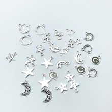 30pcs mixed batch of antique Turkish silver moon and star on DIY charm pendant necklace bracelet handmade jewelry