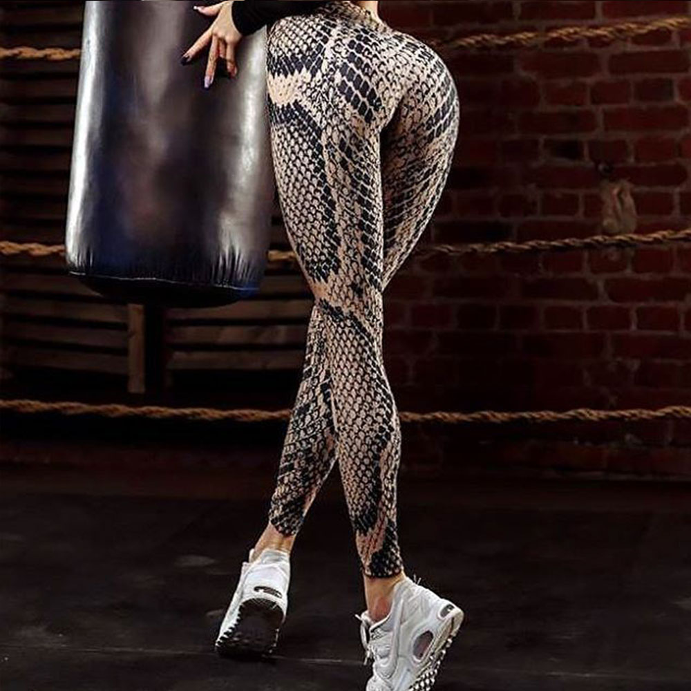 2018 Snake Pattern Print Women Fitness Leggings Push Up Quick Dry High Waist Workout Legging Sporting Clothing Pants Leggins
