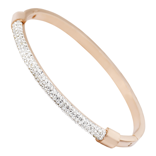 Gold Bracelet Femme Crystal Jewelry Stainless Steel Cuff Bracelets For Women Charming Zircon Bracelets Bangles Wholesale