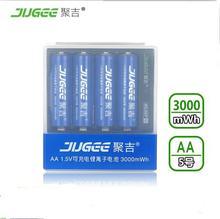 4 pcs JUGEE 1.5 v 3000mWh AA Li-polymère Li-ion au lithium polymère rechargeable batterie avec chargeur ensemble!