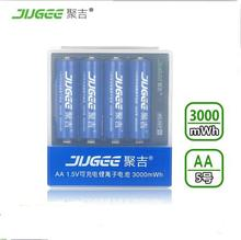 4 unids JUGEE 1.5 v 3000mWh AA Li-polímero Li-ion de litio recargable de polímero avec batterie cargador set!