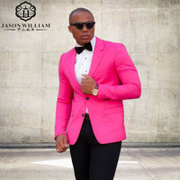 LN132 Two Buttons Slim Fit Groom Tuxedo Hot Pink Mens Suit Best Men Wedding Party Prom Suits Custom Made blazer (Jacket+Pant+Bow