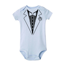 2019 Gentleman Suit Baby Boy Clothes Bow Tie Baby Romper Jumpsuit bebe conforto Outfit Boy Romper Outfit newborn clothes 0-24m(China)