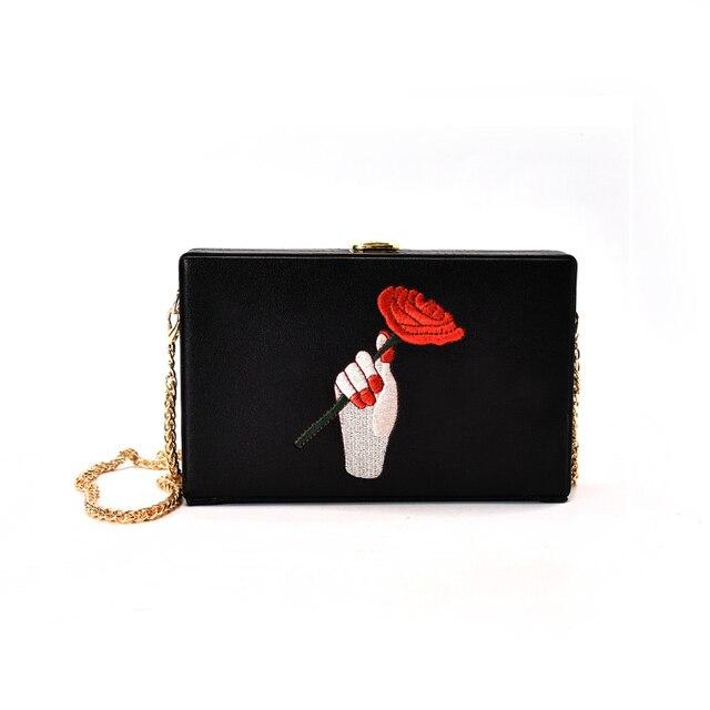 Роскошные сумки женские сумки с вышивкой роз дизайнер окно мешок известный бренд небольшие сумки через плечо для Дамские туфли из PU искусственной кожи сумка