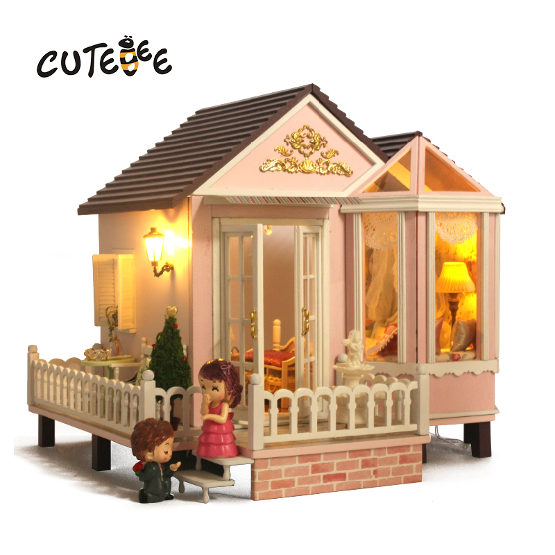 CUTEBEE Doll House Miniature DIY Dollhouse With Furnitures Wooden House Toys For Children Birthday Gift  A012 cutebee doll house miniature diy dollhouse with furnitures wooden house toys for children birthday gift hordic holiday a030