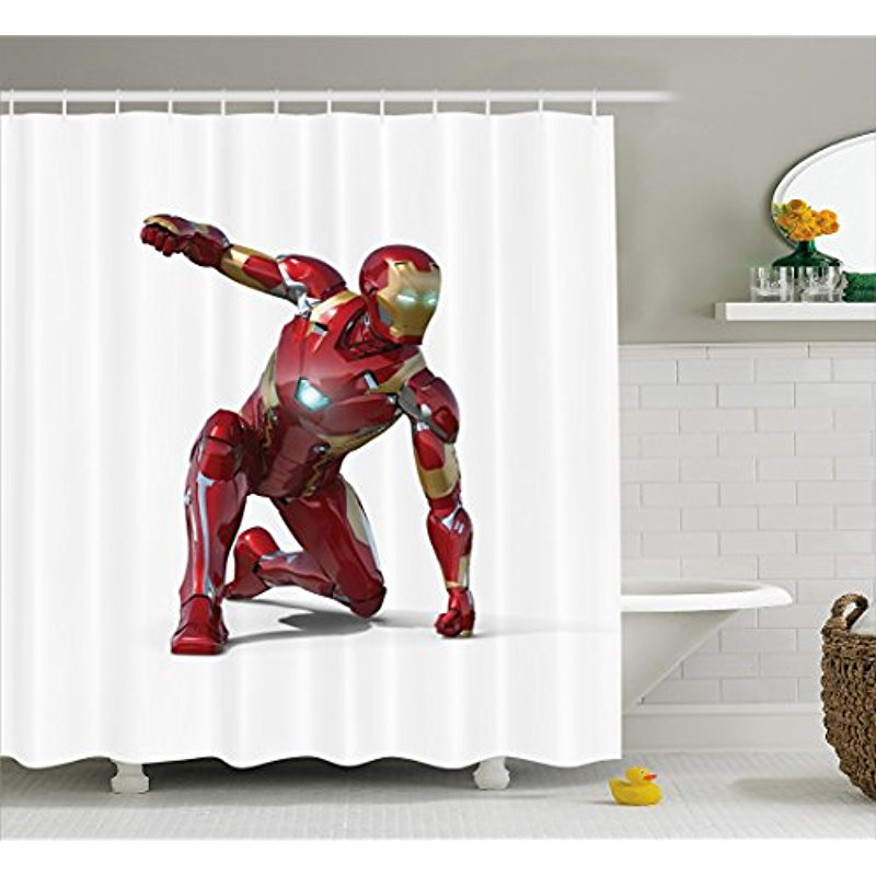 US $12 24 21% OFF|Vixm Superhero Shower Curtain Robot Transformer Hero with  Superpowers in Costume Cyber Man Fun Character Fabric Bath Curtains-in