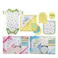Luvable Amigos Nuevos 2015 Picks 9-piezas Conjunto de Baño Del Bebé Toalla de Bebé Conjunto Cuidado Del Bebé Tanto Productos de Toallas de Bebé Recién Nacido Del Mameluco