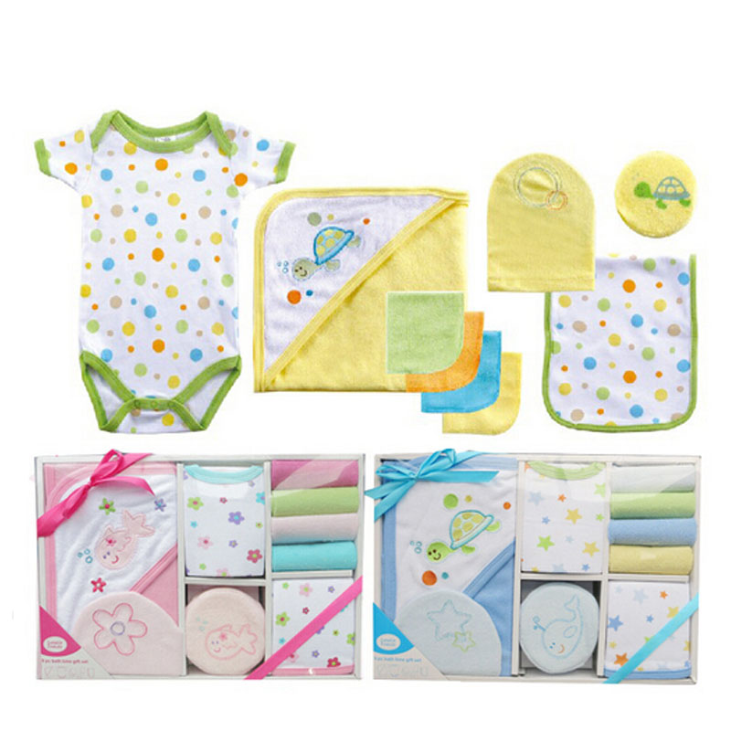 Luvable Friends New 2017 9-Pieces Baby Bath Set Towel Baby Care Set Baby Both Towel Products Newborn Baby Romper
