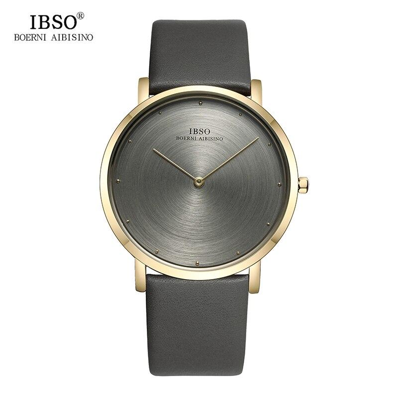 IBSO Mens Watches Top Brand Luxury 7MM Ultra-thin Genuine Leather Strap Watch Men 2017 Fashion Quartz Wristwatch Gray Male Clock jubaoli rotatable bezel male watch quartz leather strap wristwatch