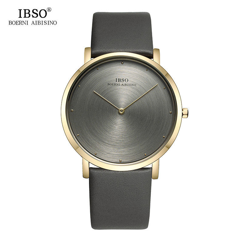 IBSO Mens Watches Top Brand Luxury 7MM Ultra-thin Genuine Leather Strap Watch Men 2018 Fashion Quartz Wristwatch Gray Male Clock top luxury brand mens fashion leather strap multifunction watches men quartz watch waterproof wristwatch male table clock reloj