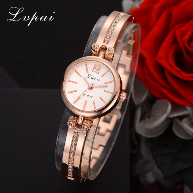 Lvpai Brand Women Bracelet Watch Ladies Dress Rose Gold Quartz Wristwatch Rhines