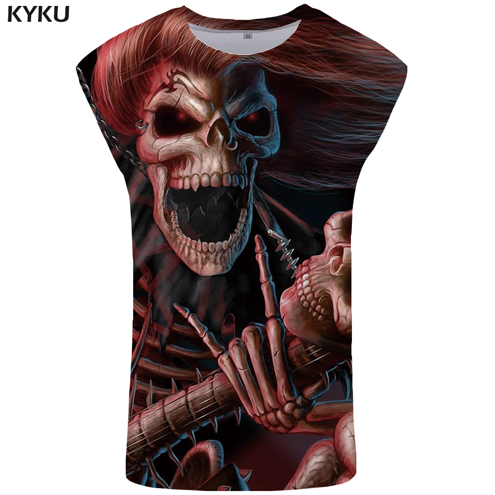 KYKU Skull Tank Top Men Punk Singlet Funny Ftness Clothing 3D Stringer Gothic Mens Bodybuilding Tanktop Sleeveless Shirt 2018