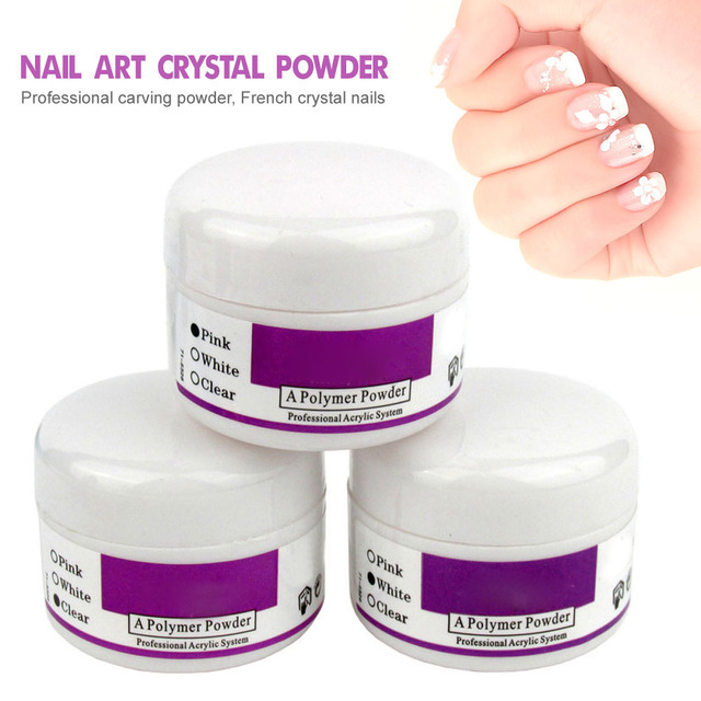 NEW Clear Pink White 3 Colors Acrylic Powder Crystal Nail Manicure Tips Nail Art 3D Decoration Builder Polymer