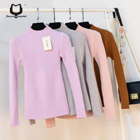 10 Colors Women Pullovers Half Turtleneck Knitting Sleeve Woolen Pullovers Tops Female Pullovers Kintted Knitting Sweaters