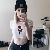 Momoluna 2017 Woman summer kawaii rose floral crop top cropped t shirt women tops tee shirt femme blusas haut s m l