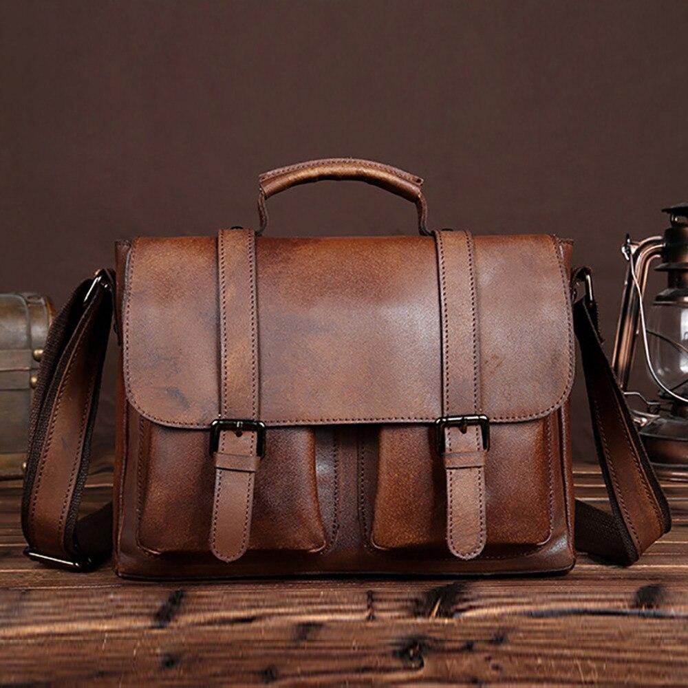 Nouveau cuir véritable hommes mallette mode fourre-tout décontracté sac à main tablette PC sacs à bandoulière mâle célèbre marque sac à bandoulière