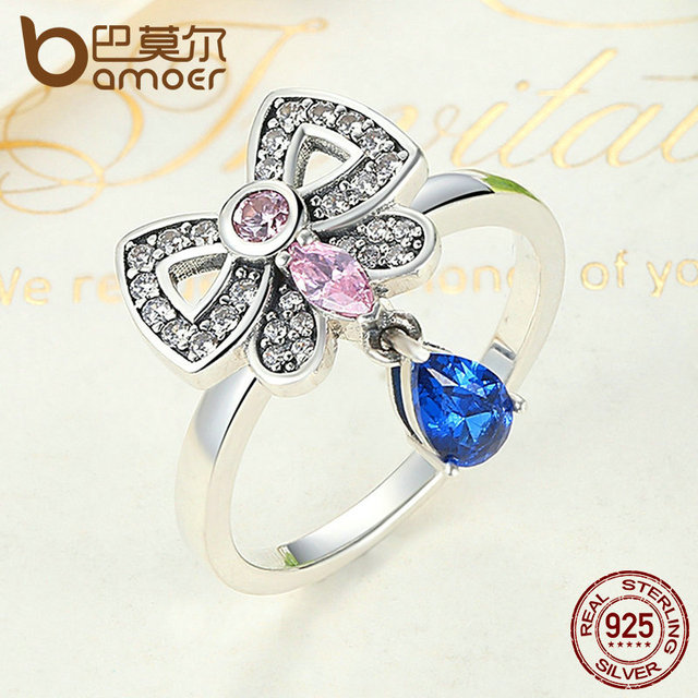 Sterling Silver Pink & Blue Clearly CZ Ring