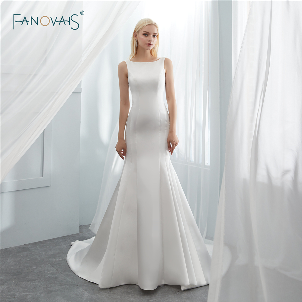 Simple Wedding Dresses 2019 Boat Neck Ivory/White Elegant