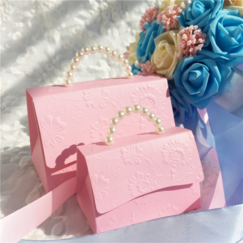 10pcs/lot Pearl Handle Favors Gift Candy Chocolate Box Bag Wedding Baby Shower Party Birthday Favor Box Pregnancy Announcement
