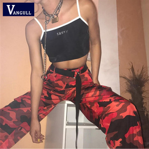 Image 4 - Vangull สีแดง Camouflage Harem กางเกงสตรีกางเกง Jogger ข้อเท้า   ความยาว 2019 ใหม่แฟชั่นฤดูใบไม้ผลิหญิง Casual Cargo กางเกง Camo พิมพ์