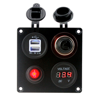 Waterproof Motorcycle Car Boat Yacht Cigarette Lighter Socket Panel With 3 1A Dual USB Charger