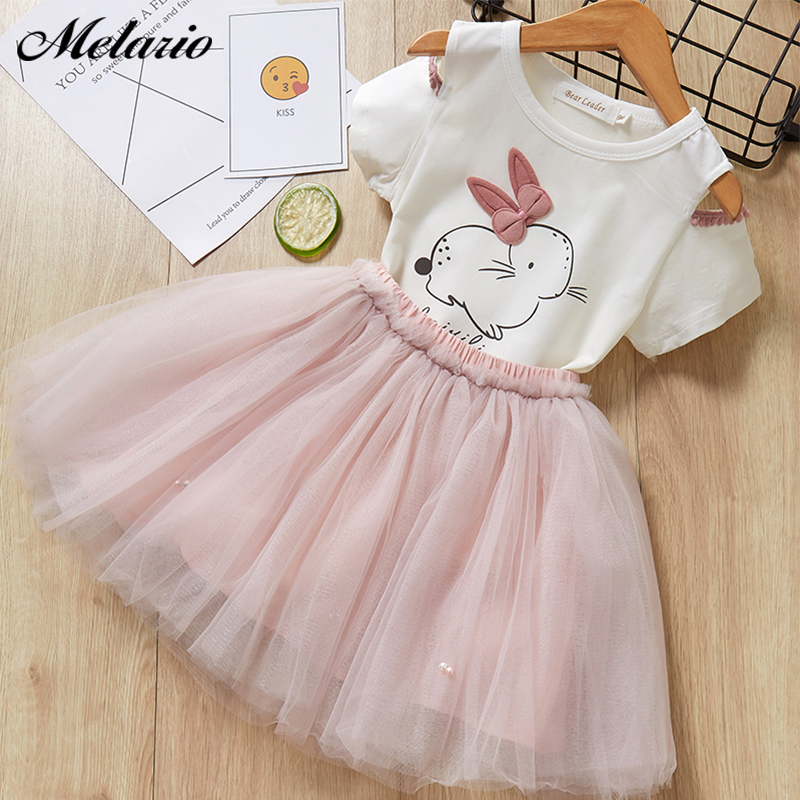 Girls Dresses 2019 lovely girls white T-Shirt and pink dress with rhinestone clothes Dress kids autumn children clothing Dresses