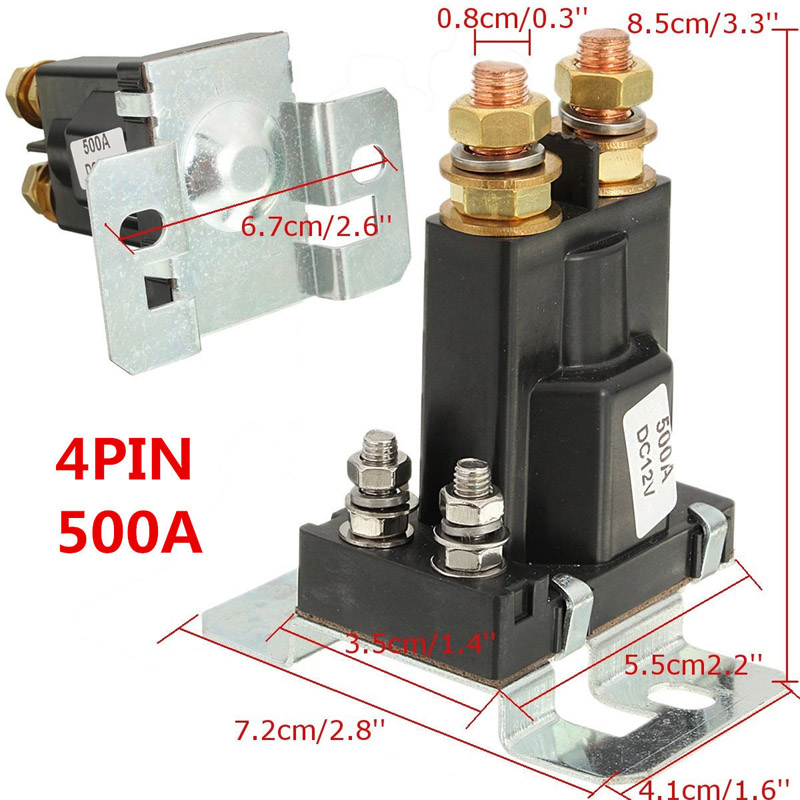 500A 12 V/24 V DC השחור מבודד סוללה כפולה ממסר להתחיל On/Off 4 פין לרכב מתג הפעלה-M25