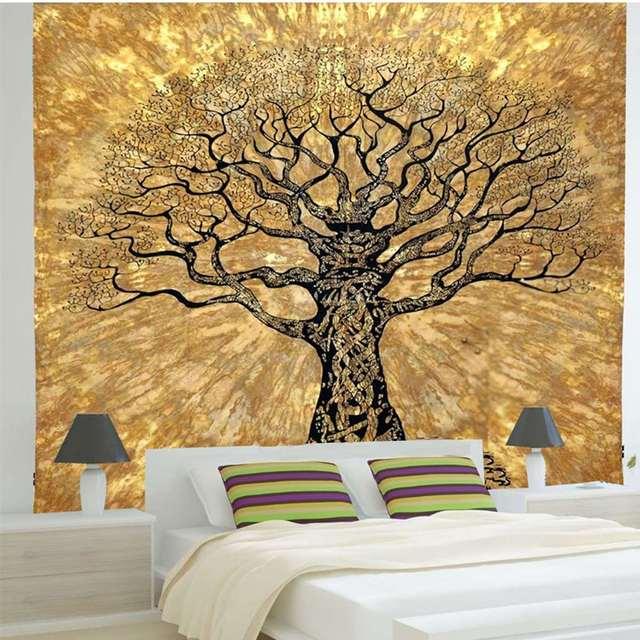 Arbre Indien Mandala Tapisserie Tenture Murale 220x140 Cm Polyester