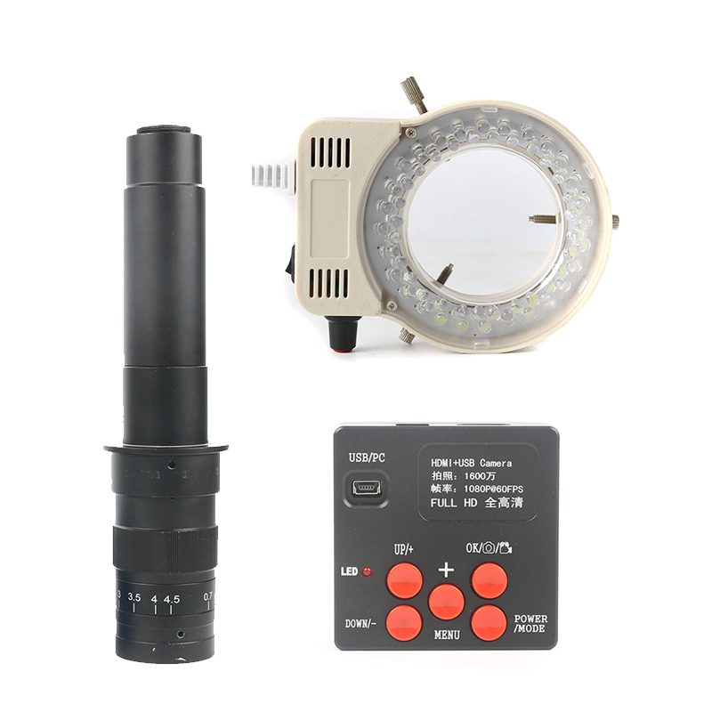 HD 16MP 1080P 720P HDMI Industrial Video Microscope Camera 180X 300X Zoom C-MOUNT Lens+56 LED Ring Light Lamp For pcb Soldering 1080p 16mp usb hdmi hd indusry video microscope camera 300x 180x c mount lens 144 led light for phone repair soldering pcb