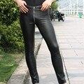 Hombres Sexy Bajo la cintura los Pantalones de Cuero de Imitación Mate Negro Pantalones Slim Fit Cremallera Apretada